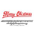 merry christmas handwritten latin alphabet can vector image