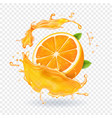 orange juice splash realistic 3d fruit vector image