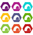 souffle icon set color hexahedron vector image