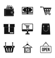 Supermarket buying icons set simple style vector image