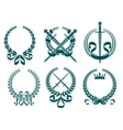Laurel wreathes with heraldry elements vector image vector image