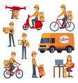cute cartoon courier characters with