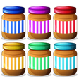 Six jars of peanut butters vector image vector image