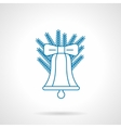 Classic Christmas bell thin blue line icon vector image