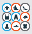 dress icons set collection of waistcoat trilby vector image