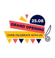 grand opening come celebrate with us on 25 august vector image