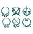 Laurel wreathes with heraldry elements vector image