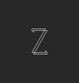 Letter Z elegant monogram mockup logo thin line vector image