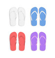 realistic 3d colorful flip flops beach slippers vector image