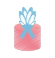 drawing gift box wrapped paper bow vector image
