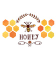 Honey label with bee and cells - funny design vector image
