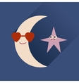 Flat web icon with long shadow moon star vector image