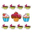 cupcake set on white background vector image