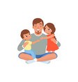 happy father with his two children loving dad vector image