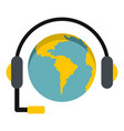 globe with headset icon isolated vector image