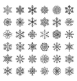Winter Snow Flakes Doodles vector image