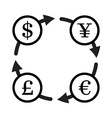 Finance currency exchange icon set Yuan dollar vector image