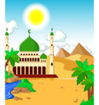 beautiful mosque with desert landscape background vector image vector image