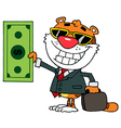 Cartoon Character Happy Tiger vector image