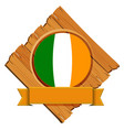 flag of ireland on wooden board vector image