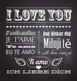 Love You In Seven Languages on chalkboard vector image