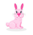 pink bunny boy with two teeth and long ears vector image