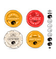 set of template labels for cheese and icons vector image