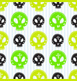 skull seamless pattern halloween background green vector image