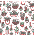Succulents And Cacti Color Sketch Pattern vector image