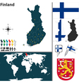 Finland map world vector image vector image