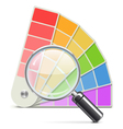 Palette with Loupe vector image