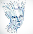3d portrait created with lines mesh Intelligence vector image