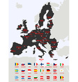 European Union Map with flags vector image
