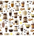 Seamless coffee pattern in flat style vector image vector image