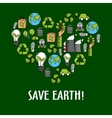 Heart shaped organic ecology icons vector image vector image