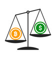 bitcoin vs dollar concept with balance vector image