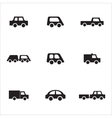 Black and white car icons vector image