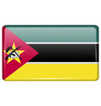 Flags Mozambique in the form of a magnet on vector image