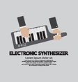 Musician Playing Electronic Synthesizer Flat vector image