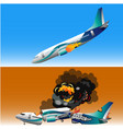 plane crash with fire vector image