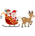 Santa Claus Moving On The Sledge With Reindeer And vector image