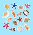 sea shells cute stickers vector image
