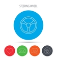 Steering wheel icon Car drive control sign vector image