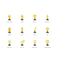 Trophy cup flat color icons on white background vector image