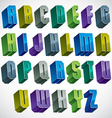 3d colorful letters geometric alphabet vector image