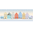 Winter cityscape with retro houses vector image
