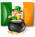 Leprechan in the pot of gold vector image