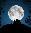 Full Moon with Castle and Trees vector image