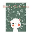 greeting card with cute cat happy smile marry vector image