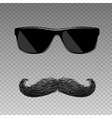 Realistic fake mustache with glasses vector image